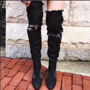 NWOB Jeffrey Campbell Black Denim Distressed Boots